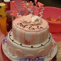 "Pink Poodle 1St Birthday This is my first cake. It was for my daughters first birthday with the ""pink poodle"" theme. It is a chocolate and vanilla layered..."