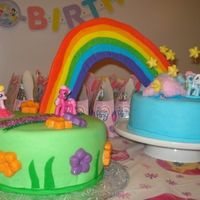 My Little Pony Birthday Cake Fondant covered, fondant rainbow, cotton candy for clouds, chocolate stars