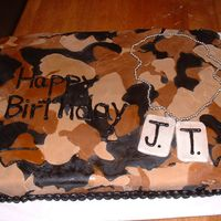 Camouflage Cake   This was for an Army themed party. All fondant, tags dusted with silver luster dust and chain is dragees.