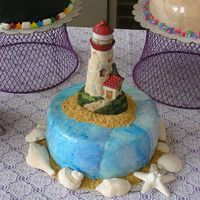 Light House Cake  Fifth and final in my series of 5 retirement cakes. Covered in blue marbled MMF and trimmed with graham cracker sand crumbs and sugar sea...
