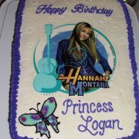 Hannah Montana Cake This was a double 1/4 sheet cake with a Hannah Montana edible image for my niece. It was almond sour cream layers with vanilla almond...