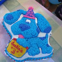 Blues Clues double layer blues clues cake for 3 year old birthday.