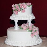 Wedding Cake  This was my last cake from Wilton Course 3. It was fun to do and I really liked the fondant roses even though they took forever to make....