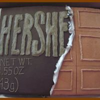 Hershey Candy Bar This was a fun cake that Coopscake and I did for an 80th Birthday.. It's a 11x 15 Chocolate with chocolate BC and the wrapper is...