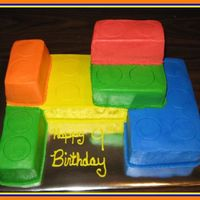 "Legos I took 2- 8"" square cakes and 2-6""square cakes and cut and stacked them. If I had this cake to do over again I would make the..."
