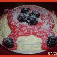 Speghetti And Meatballs  I put a 2 layer round cake down in a pie plate and used a # 3 tip to make the noodles, thinned icing for the sauce, cake balls for the...