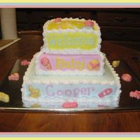 "Baby Shower This is a 10"",8"" and 6"" all 1 layer cakes. The accents are chocolate from a mold. Thanks for looking"