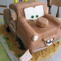 Tow Mater Cake Tow Mater from Cars! Thanks for all the inspiration from the great tow mater cakes on cake central! All fondant and black licorice laces...
