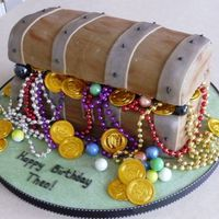 Treasure Chest   Cake covered with fondant. 'Lid' is rice krispie cake. Made for my son for his birthday.