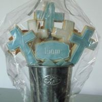 Baptism Cookies   NFSC covered in fondant, RI and luster dust. Made for a friend who's god son's brother was getting baptised!