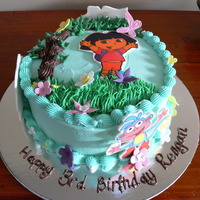 "Dora The Explorer 8"" round chocolate cake, with edible image Dora figures. Buttercream. Thanks for looking :)"