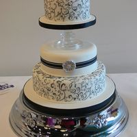 Hand Painted Toile Wedding Cake This cake was made for our local competition. The 'cakes' are made of polystrene, covered with fondant. The design is hand drawn...