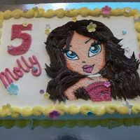 Bratz Cake Choc cake with choc filling and buttercream. I printed a coloring page onto an edible image page and 'colored' in with...