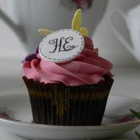 Monogram Cupcakes Chocolate cupcakes with gumpaste monogram, and butterflies