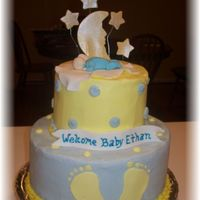 Baby Shower With Moon And Stars Baby Shower Cake Sugarshack method. Sugarshack buttercream and gumpaste/fondant decorations.