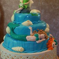 Mermaid & Tinkerbell Cake okay, so I don't do a great fondant Tink, lol! It was still one of my favorite cakes! Everything fondant except the candy melt shells...