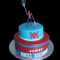 Spiderman This was my son's birthday cake. Fondant covered cakes (12 inch and 8 inch). I used one of his toys as a topper. Thank you for looking...