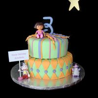 Dora Fondant cake (8 and 10 inch) with gumpaste number and toy figures. This cake was for my daughter's birthday. I can't believe she...