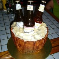 Bucket O' Beer Sugar beer bottles, gelatin ice, and fondant bucket. TFL!