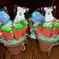 Easter Cookie Boquets These are no fail cookies w/ buttercream icing. Worked out pretty slick.