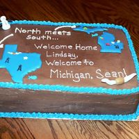 Welcome Home Cake This was for a welcome home party for my cousin - chocolate/carmel w/ carmel filling and chcolate buttercream