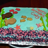 Fish Tank Cake Banana Cake W/ cream cheese frosting. This was for my cousins' 1 year old son's birthday.