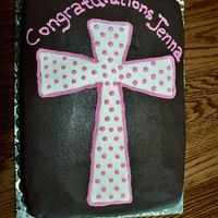 First Communion Cake Chocolate cake/carmel cake w/ carmel filling and chocolate frosting. First communion cake