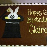 "Rabbit In A Hat This was for a little girl who was having a ""magic"" birthday. Real tricky since she insisted on chocolate frosting :)"