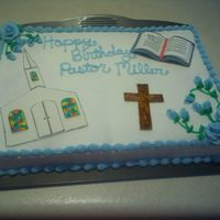 Birthday Cake For My Mom's Pastor Nothing too crazy, just a simple cake with fondant accents.