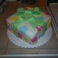 First Mmf Cake This was the first time I used MMF. Let me tell you, WOW! I love the stuff. It's just a basic Wilton inspired present cake.