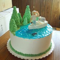 Grandpa Fishing This cake has to be my favorite. It was for my grandpa. The trees are royal and done on the Wilton tree formers. And the rest was formed...