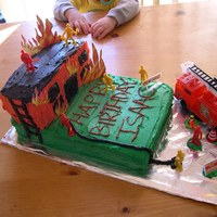 Firefighter/burning Building This is my first attempt at a non-traditional cake. Got many ideas from this website. Thanks.