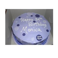 Purple Polka Dots cake I made for co-workers daughter.French Vanilla with pineapple filling and cream cheese frosting
