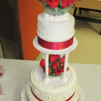 Wedding Cake red and white weding cake for co-worker