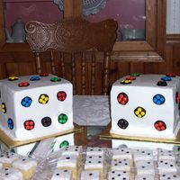 Dice Cakes And Cake Squares For 25Th Anniversary Bunko Party Couple plays bunko all the time daughters had the whole party decorated in dice. Dad is a M&M addict so I was ask to incorporate them...