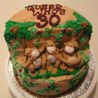 Three Little Monkeys I did this cake for a friends 30th birthday. It is a chocolate cake with peanut butter icing. The monkeys are rolled fondant. The trees are...