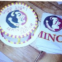 Florida Seminole This cake was for a graduate of Florida State. It is a yellow cake with all buttercream. I freehanded the picture onto a piece of parchment...