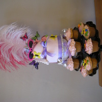 "Fancy Nancy Birthday Party The main cake was a mini two tier 6"" and 4"" (gluten free) and coordinating cupcakes. The decorations are a mixture of edibles and..."