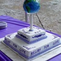 Around The World 2 Of 2 Views Cake centerpiece for ACS Relay for Life event