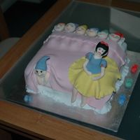 Snow White   Sponge cake covered with fondant and fondant figures.