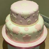 Pink Flower Birthday   Two tiers of chocolate sponge covered with fondant . Pearls and flowers all fondant too.