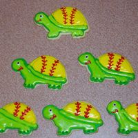 "Softball Turtle Cookies My first attempt at decorated cookies! These were for my ten year old's softball team (""The Turtles""). In their league, they..."
