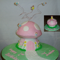 "Fairy Toadstool My baby girl's first birthday cake! Buttercream with some fondant decorations. ""Smash cake"" toadstool cupcake is shown in..."