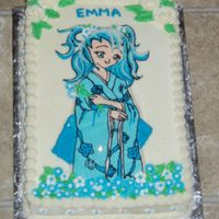 Manga Cake A manga cake for my stepdaughter. Chocolate cake, cream cheese frosting, fbt, except for the hair, which I just did freehand. Royal icing...