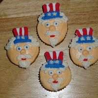 Uncle Sam Cupcakes Fondant hats, everything else buttercream.