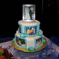 Story Of Us I used edible images of my friends for this cake. The bottom layer has pictures from when they first started dating. The top layer is when...