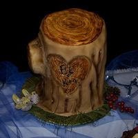Stumpy That's what everyone called this cake and the name stuck. Fondant covered grooms cake. Somebody decided to yank on part of the stump...