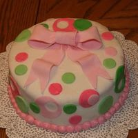 Green And Pink Polka Dots This is my first attempt at Fondant and it was a very rough one, LOL. I had quite a few cracks and tears that I had to try to somewhat...