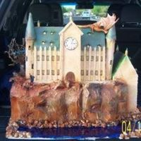 Hogwarts  This is actually foam board covered in royal icing, It has 6 cupcakes in the back. I have more info of the step by step on http://forum....