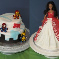 Superhero And Barbie Cake  My wife and I are having a friendly competion. She did the barbie cake for our daughter and I did a superhero cake. Vote for your favourite...